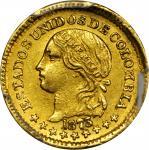 COLOMBIA. 1873 Peso. Bogotá mint. Restrepo 322.3. MS-62 (PCGS).