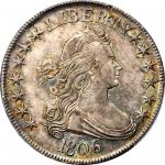 1806 Draped Bust Half Dollar. O-120, T-28. Rarity-3. Pointed 6, Stem Through Claw. MS-64 (PCGS).