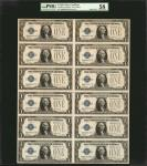 Uncut Sheet of (12) Fr. 1600. 1928 $1 Silver Certificate. PMG About Uncirculated 58.