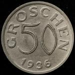 AUSTRIA Republic オーストリア共和国 50Groschen 1936 返品不可 要下见 Sold as is No returns -EF
