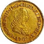 COLOMBIA. 1767-J 2 Escudos. Popayán mint. Carlos III (1759-1788). Restrepo 58.10. AU Detail — Cleane