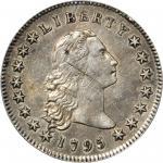 1795 Flowing Hair Silver Dollar. BB-18, B-7. Rarity-3. Three Leaves. EF-45 (PCGS).