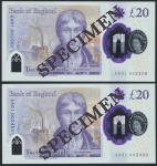 Bank of England, Sarah John, polymer £20, ND (20 February 2020), serial number AA01 002300/2400, pur