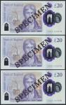 Bank of England, Sarah John, polymer £20, ND (20 February 2020), serial number AA01 000078/79/80, pu