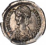 THEODOSIUS II, A.D. 402-450. AR Miliarense (4.34 gms), Constantinople Mint, ca. A.D. 408-420. NGC Ch