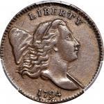 1794 Liberty Cap Half Cent. C-2b. Rarity-5+. Normal Head. Large Edge Letters. EF-45 (PCGS). CAC.