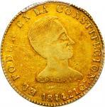 1844年基多金币8埃斯库多  PCGS XF 45