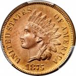1875 Indian Cent. MS-66 RD (PCGS).