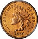 1870 Indian Cent. Bold N. MS-65+ RD (PCGS). CAC.