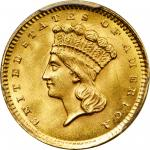 1860 Gold Dollar. MS-66 (PCGS).