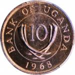 UGANDA. 10 Cents, 1968. PCGS PROOF-65 Red Brown Gold Shield.