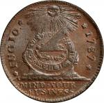1787 Fugio copper. Newman 8-B, W-6740. Rarity-3. Pointed Rays, UNITED STATES. MS-64 BN (PCGS).
