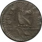 1787 New Jersey copper. Maris 83-ii. Rarity-7-. Circulating Counterfeit. Overstruck on a 1783 Nova C
