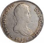 PERU. 8 Reales, 1818-LIMA JP. Lima Mint. Ferdinand VII. PCGS AU-53 Gold Shield.