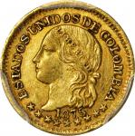 COLOMBIA. 1875 Peso. Bogotá mint. Restrepo 322.5. AU-58 (PCGS).