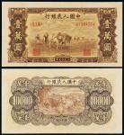 """1949年第一版人民币壹万圆""""双马耕地"""""""