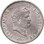 Italian coins;NAPOLI Ferdinando II (1830-1859) Piastra 1857 - MIR 567 AG (g 27.46) Minimi graffietti