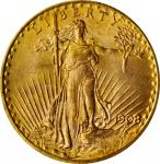 1908 Saint-Gaudens Double Eagle. No Motto. MS-66 (PCGS). OGH.