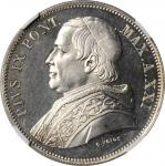 ITALY. Papal States. 5 Lire, 1867-R Year XXI. Rome Mint. Pius IX. NGC PROOF-65.