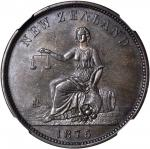 NEW ZEALAND. Christchurch. S. Clarkson. Penny Token, 1875. NGC MS-63 BN.