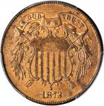 1873 Two-Cent Piece. Close 3. Proof-63 RB (PCGS).
