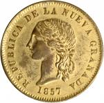 COLOMBIA. Gilt-Copper Contemporary Counterfeit 10 Pesos, 1857. Popayan Mint. EXTREMELY FINE.