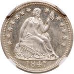 1847 Liberty Seated Half Dime. NGC MS67