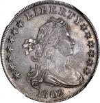 1802 Draped Bust Silver Dollar. BB-241, B-6. Rarity-1. Narrow Date. AU-58 (NGC).