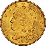 1830 Capped Head Left Half Eagle. Bass Dannreuther-2. Rarity-5+. Small 5D. Mint State-64+ (PCGS).