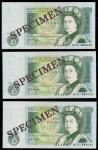 Bank of England, J. B. Page, consecutive trio of 」1, Experimental Issue, ND (1978), serial numbers 8