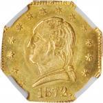 1872 California Gold Charm 1/4. Octagonal Type III. Musante GW-819, Baker-504A. Gold. MS-64 (NGC).