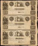 Uncut Sheet of (3) Astor, Green Bay, Wisconsin Territory. Private Scrip. 18xx. $10-$10-$50. Very Fin
