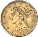 USA République fédérale des États-Unis d'Amérique (1776-à nos jours). 5 dollars Liberty 1902, Philad