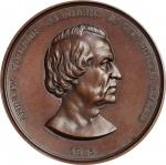 1865 Andrew Johnson Indian Peace Medal. Large Size. Bronzed Copper. 76 mm. Julian IP-40. Mint State.