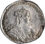 RUSSIA. Poltina (1/2 Ruble), 1738-CNB. Anna (1730-40). PCGS AU-50 Secure Holder.
