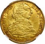COLOMBIA. 8 Escudos, 1789-NR JJ. Nuevo Reino Mint. Charles III. NGC MS-61.