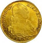 COLOMBIA. 1805-JJ 4 Escudos. Santa Fe de Nuevo Reino (Bogotá) mint. Carlos IV (1788-1808). Restrepo