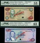 Bank of Jamaica, $2, $10, 1987, 1979, serial number CY 000000, MW 000000, $2, brown and green, Paul