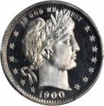 1900 Barber Quarter. Proof-66 Cameo (PCGS).