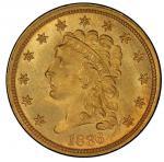 1836 Classic Head Quarter Eagle. McCloskey-2. Script 8. Mint State-65+ (PCGS).