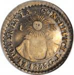 ECUADOR. Real, 1833-QUITO GJ. Quito Mint. ANACS VF-25.