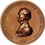 1845 James K. Polk Indian Peace Medal. Bronze. First Size. Second Reverse. Julian IP-24, Prucha-46.