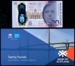 Bank of Scotland, polymer issue £20, 1 June 2019, serial number QC 000100 purple, indigo and dark re