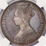 英国 (Great Britain) ヴィクトリア女王像 ゴシックタイプ クラウン銀貨 1847年 純銀タイプ プレーンエッジ KM744 / Victoria Gothic 1 Crown Pure