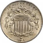 1873 Shield Nickel. Open 3. FS-1301. Repunched Date, Large/Small 3. MS-62 (PCGS).