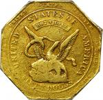 1851 Augustus Humbert $50. Reeded Edge. K-6. Rarity-4. 887 THOUS., Target Reverse. Fine-12 (PCGS). C