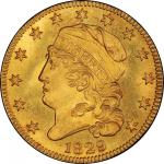 1829 Capped Head Left Half Eagle. Large Diameter. Bass Dannreuther-1. Rarity-7. Mint State-66+ (PCGS