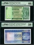 香港纸钞一组3枚,包括渣打银行1981年10元、汇丰银行1980年50元及有利银行1974年100元,编号BH189057, 206647W 及 B227987,分别评PMG 64EPQ, 58EPQ