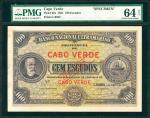 CAPE VERDE. Banco Nacional Ultramarino. 100 Escudos, 1921. P-38s. Specimen. PMG Choice Uncirculated