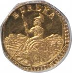 1884 California Gold Charm. Arms of California. Octagonal. MS-65 PL (NGC).